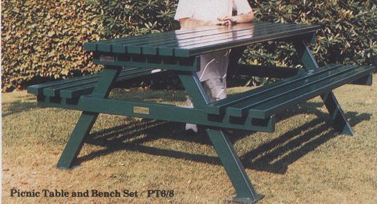 green picnic bench
